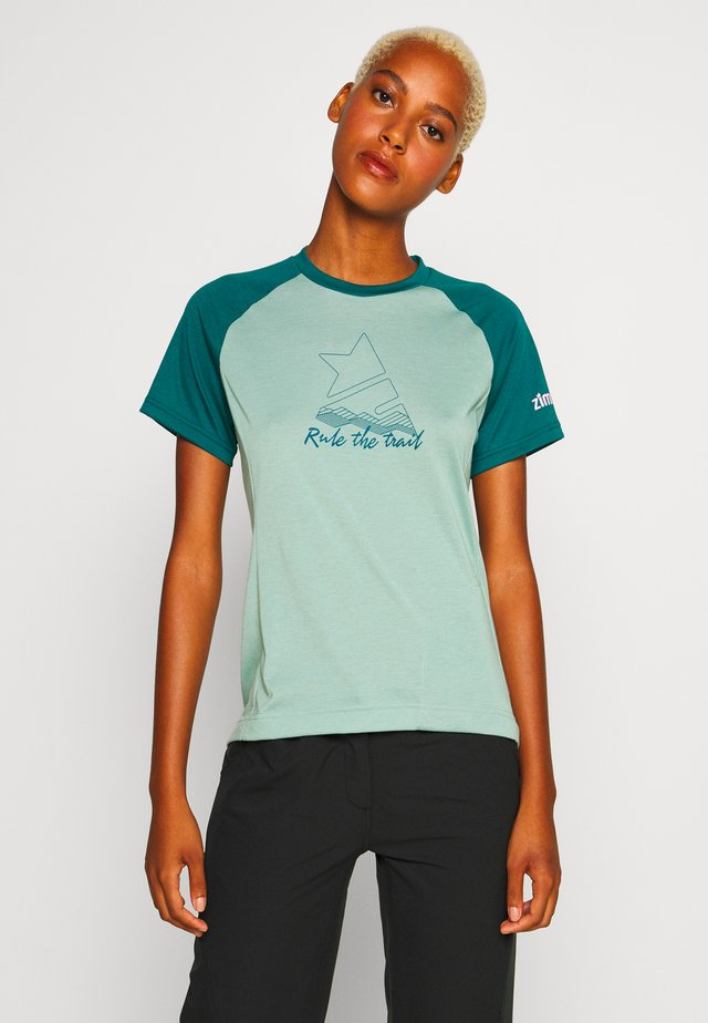 PURE FLOWZ  - T-shirts med print - granite green/pacific green/blush