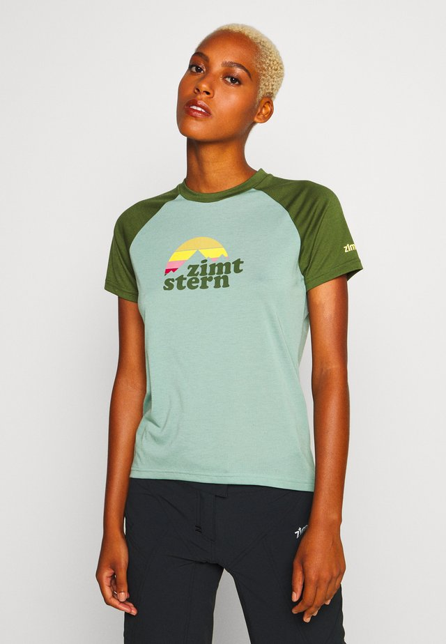 SUNSETZ TEE - T-shirts med print - granite green/bronze green