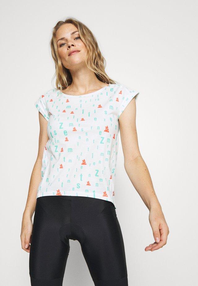 STYLEZ TEE - Print T-shirt - white/florida/coral