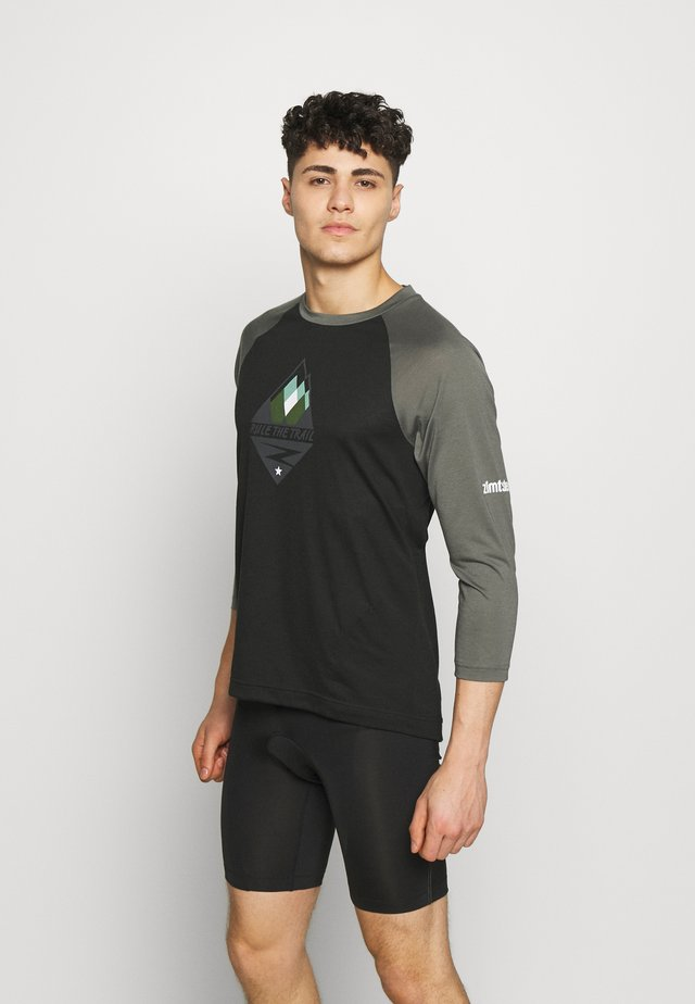 PUREFLOWZ MEN - Sportshirt - pirate black/gun metal/fog green