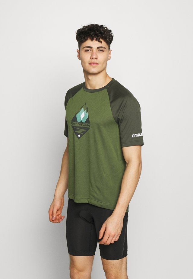 PUREFLOWZ MEN - T-shirt print - bronze green/forest night/fog green