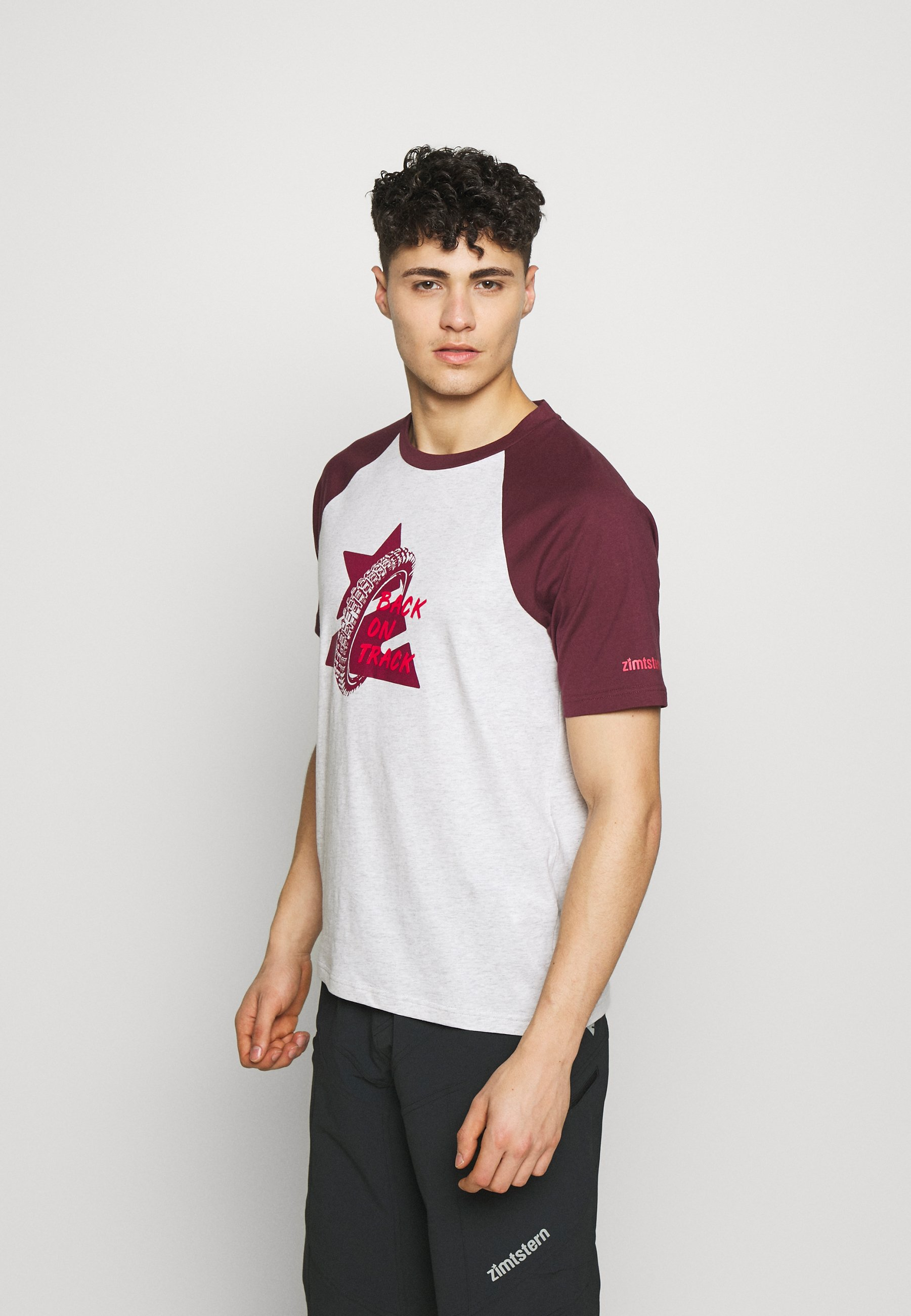 Zimtstern BOTZ TEE MEN - T-shirt z nadrukiem - glacier grey/windsor wine