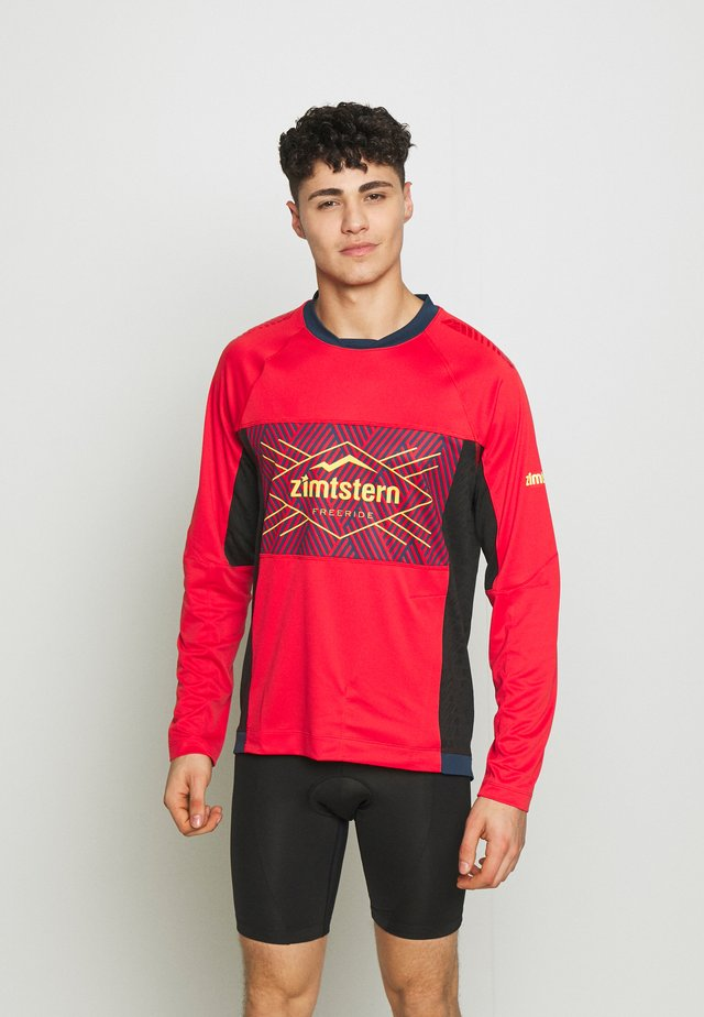 TECHZONEZ MEN - Sportshirt - cyber red/french navy/mimosa