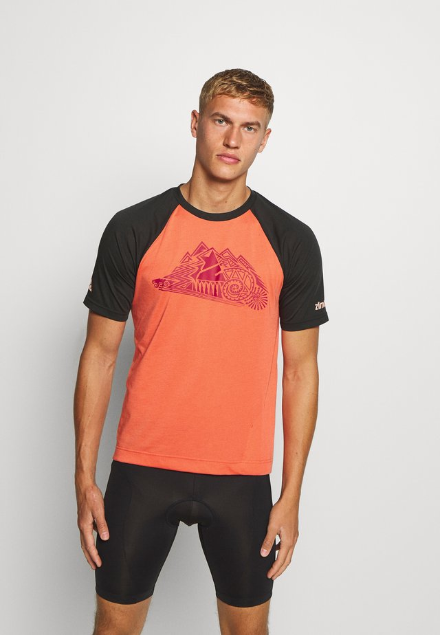 PUREFLOWZ MEN - T-shirts med print - pirate black/living coral