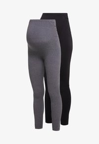 Zalando Essentials Maternity - 2 PACK - Leggings - black/grey - 4