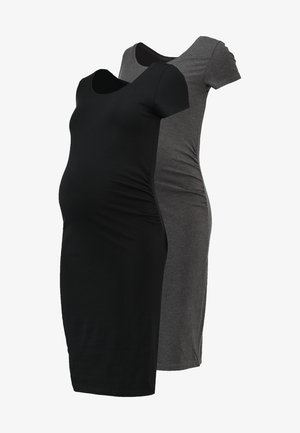 2 PACK - Jersey dress - black/dark grey melange