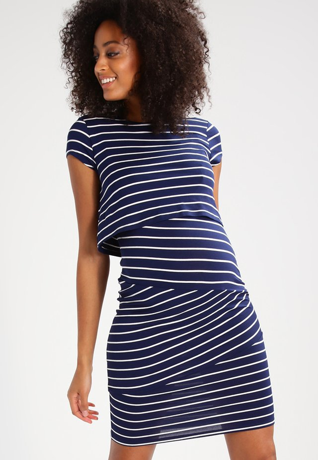 Jersey dress - dark blue/off white
