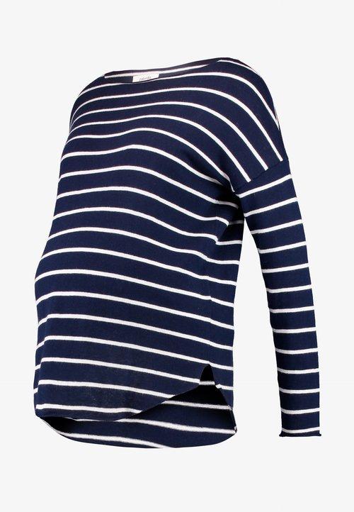 szyk Zalando Essentials Maternity Sweter - dark blue/off-white Odzież Damska YBDG-VY7