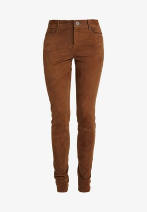Leather trousers - tobacco