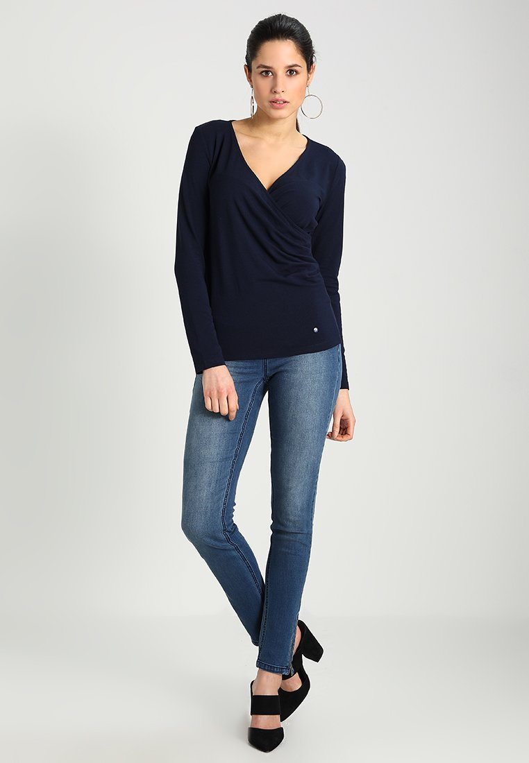 TOM TAILOR - FEMININE WRAPPED - Long sleeved top - real navy blue