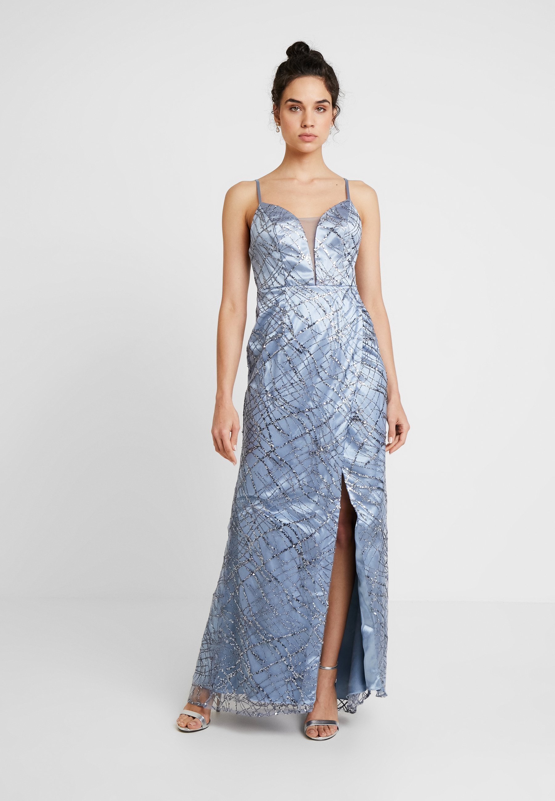 Deluxe Maxi Blue All FrontRobe Plunge Maya Cami With Over Glitter De Cocktail Qrhtsd