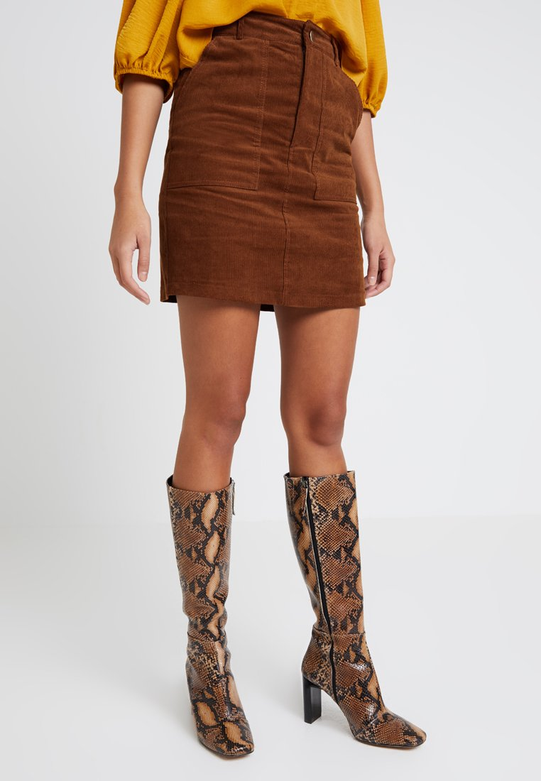 New Look - BUTTON FRONT SKIRT - Mini skirts  - tan