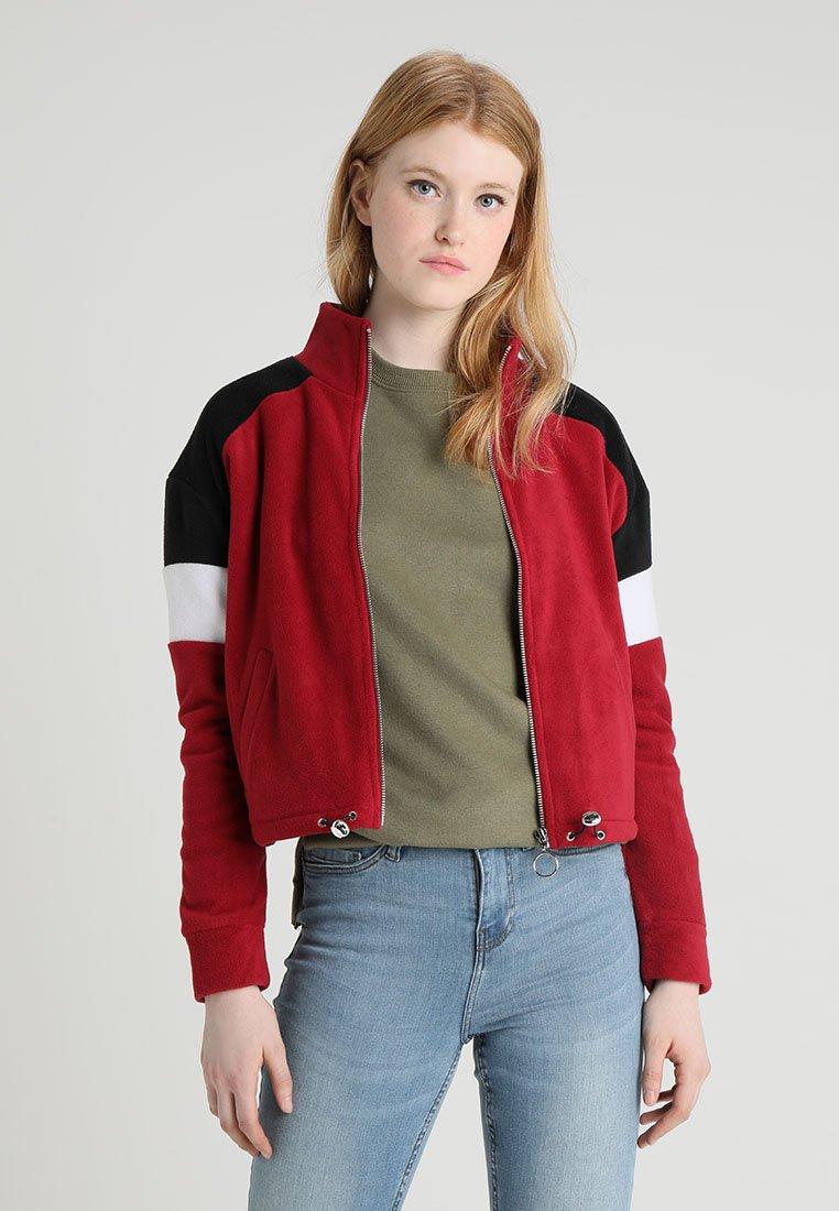 New Look - COLOURBLOCK POLAR - Fleece jacket - dark burgundy