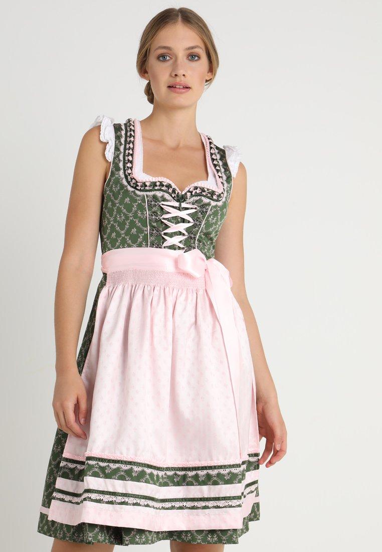 Krüger Dirndl - MAGRIT - Dirndl - grün/rosa