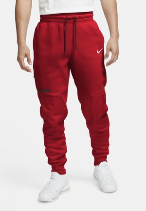 FLEECEBYXOR - Tracksuit bottoms - black university red white