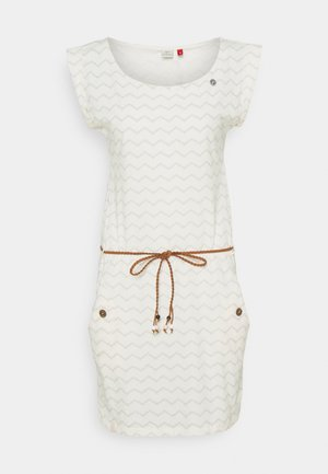 TAG CHEVRON - Jersey dress - off white