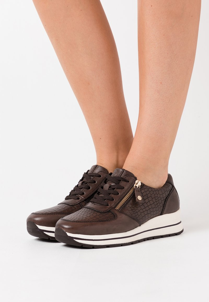 Tamaris Pure Relax - LACE UP - Trainers - cafe/croco