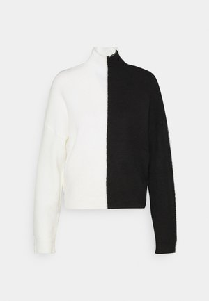 COLOURBLOCK HIGH NECK JUMPER - Strikkegenser - black