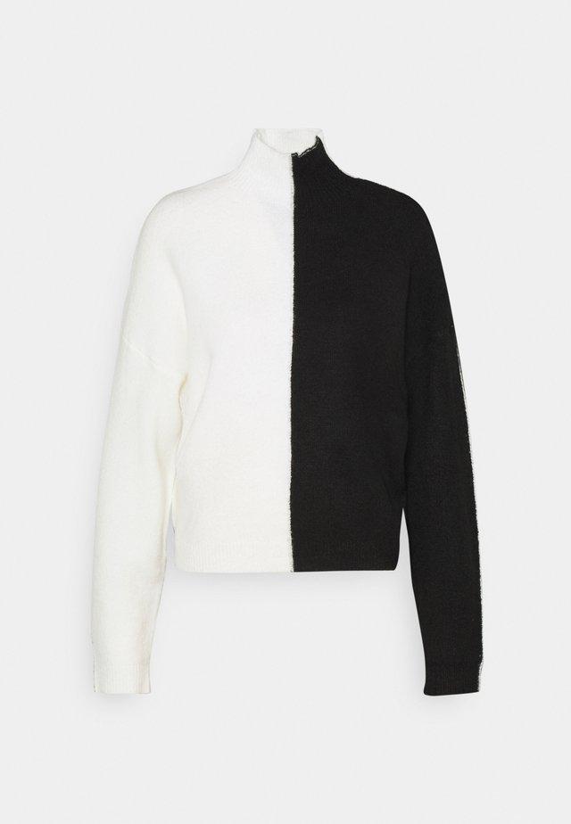 COLOURBLOCK HIGH NECK JUMPER - Sweter - black