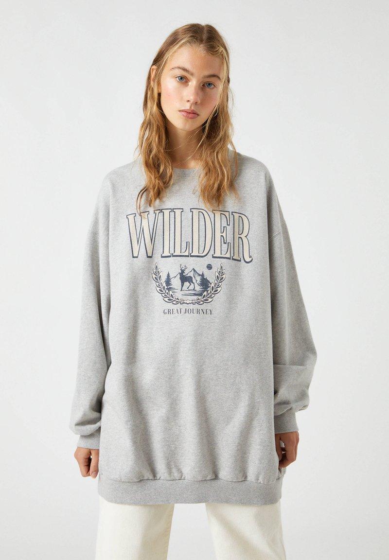 PULL&BEAR - Sweatshirt - mottled dark grey