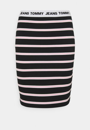 STRIPE BODYCON MIDI SKIRT - Jupe crayon - black / multi