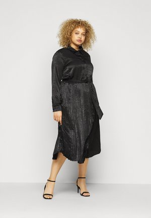 PLEATED DRESS - Shirt dress - black