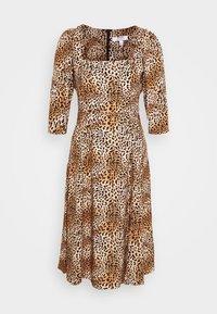 Dorothy Perkins Petite - ANIMAL SQUARE NECK MIDI DRESS - Day dress - brown - 4