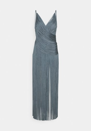 DRAPED FRINGE DEEP GOWN