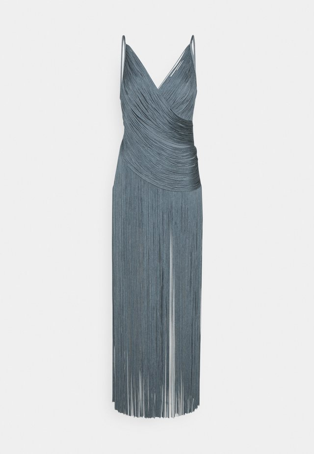 DRAPED FRINGE DEEP GOWN - Robe de cocktail - abalone