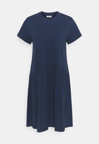DRESS HEAVY RAW RUFFLES - Jersey dress - blue