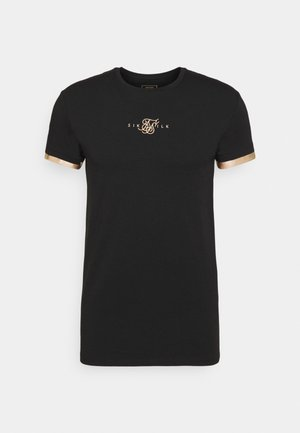INSET CUFF GYM TEE - Print T-shirt - black/gold
