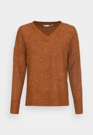 COZY V NECK - Jumper - amber brown melange