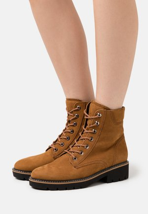 Lace-up ankle boots - copper