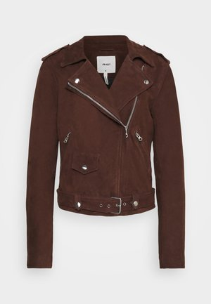 OBJNANDITA JACKET SEASONAL - Leather jacket - chicory coffee