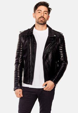 THOR PERFECTO - Leren jas - black with dark silver accessories