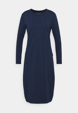 LONG SLEEVE RIB NECK DRESS - Jerseyjurk - steel blue