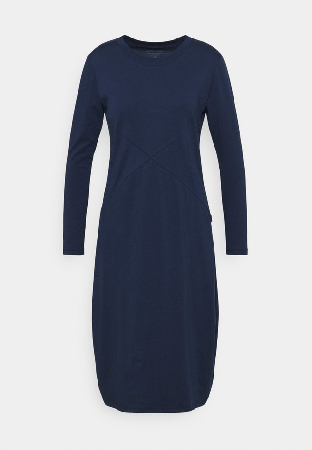 LONG SLEEVE RIB NECK DRESS - Jerseykjole - steel blue