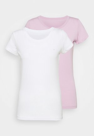 2 PACK - Basic T-shirt - natural white/quartz rose