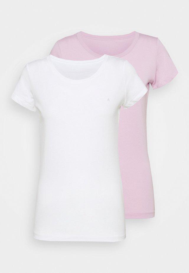 2 PACK - T-shirt basique - natural white/quartz rose
