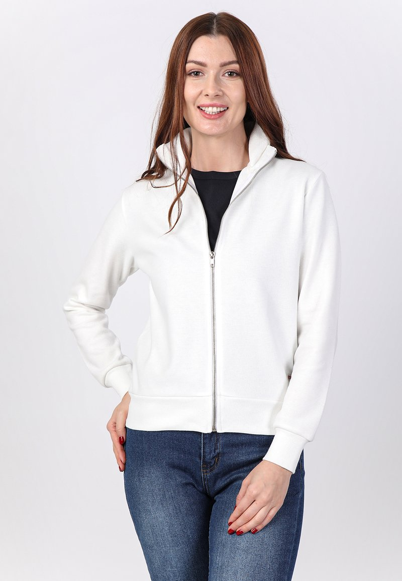 Basics and More - Zip-up sweatshirt - off-white