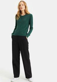 WE Fashion - MET STRUCTUUR - Cardigan - dark green - 1