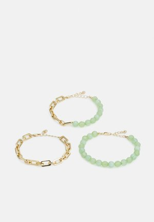 PCLENNA BRACELET 3 PACK - Rannekoru - gold-coloured/green