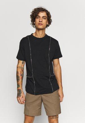 TEE WITH ZIP PANELS - Basic T-shirt - black