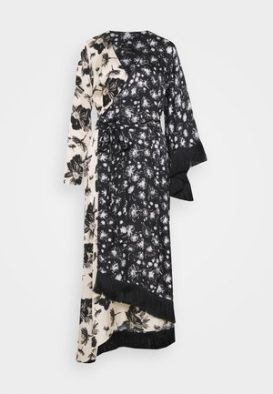 WRAP DRESS WITH TASSEL TRIM - Maxi-jurk - black/ivory