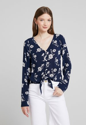 LONG SLEEVE BUTTON FRONT BLOUSE - Blůza - navy