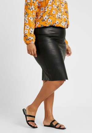 SPLIT FRONT MIDI SKIRT - Pencil skirt - black