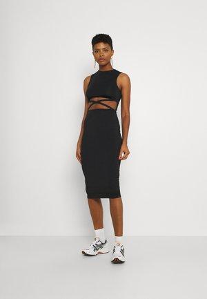 CROSS WAIST MIDI DRESS - Jersey dress - black