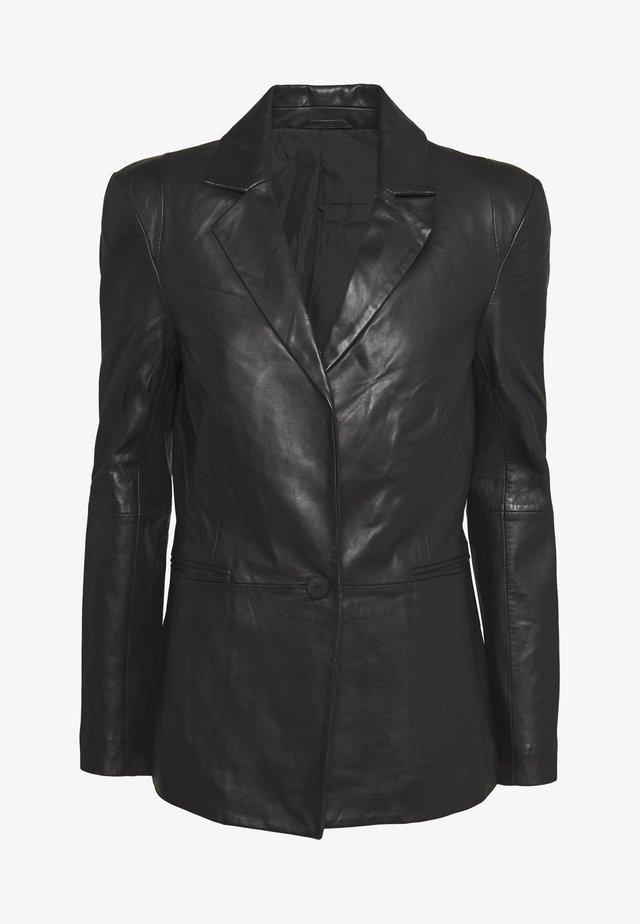 MILLER - Kožená bunda - black