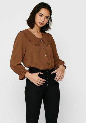 Button-down blouse - tobacco brown