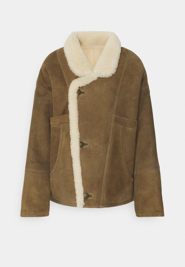 SHERLY - Leather jacket - kaki